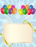 Muestra del saludo con los globos stock de ilustración