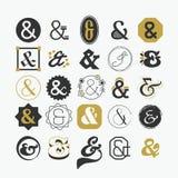 Muestra del signo '&' y sistema de elementos del diseño del símbolo Foto de archivo libre de regalías