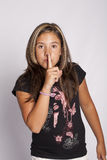 Muestra del silencio con el dedo Fotos de archivo