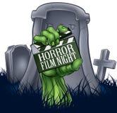 Muestra del tablero de chapaleta del zombi o del monstruo de la película de terror Imagen de archivo