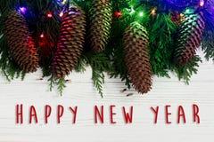 Muestra del texto de la Feliz Año Nuevo en las luces y el pino co de la guirnalda de la Navidad Foto de archivo