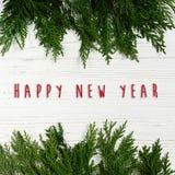 Muestra del texto de la Feliz Año Nuevo en marco verde de las ramas de árbol en elegante Imágenes de archivo libres de regalías
