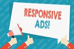 Muestra del texto que muestra anuncios responsivos La foto conceptual ajusta automáticamente la forma y el formato para caber la  ilustración del vector