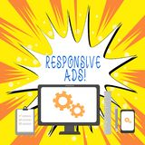 Muestra del texto que muestra anuncios responsivos La foto conceptual ajusta autom?ticamente la forma y el formato para caber el  ilustración del vector
