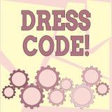 Muestra del texto que muestra código de vestimenta Reglas conceptuales de la foto de lo que usted puede llevar y no a la escuela  ilustración del vector