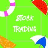 Muestra del texto que muestra compra y venta de acciones Compra de la foto y venta conceptuales de seguridades electrónicamente e stock de ilustración