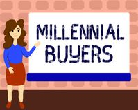 Muestra del texto que muestra a compradores milenarios Tipo conceptual de la foto de consumidores que están interesados en tender libre illustration
