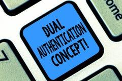 Muestra del texto que muestra concepto dual de la autentificación La foto conceptual necesita dos tipos de credenciales para la a foto de archivo libre de regalías