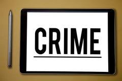 Muestra del texto que muestra crimen Actividades ilegales de la foto de las acciones federales conceptuales de la ofensa castigab imágenes de archivo libres de regalías