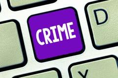 Muestra del texto que muestra crimen Actividades ilegales de la foto de las acciones federales conceptuales de la ofensa castigab fotos de archivo