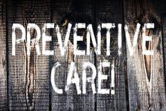 Muestra del texto que muestra cuidado preventivo La diagnosis conceptual de la prevención de la salud de la foto prueba la consul foto de archivo libre de regalías