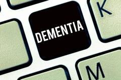 Muestra del texto que muestra demencia Debilitación conceptual de la foto en pérdida de memoria de enfermedad de cerebro de funci imagen de archivo libre de regalías