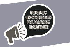 Muestra del texto que muestra desorden pulmonar obstructor crónico Megáfono requerido conceptual del tratamiento médico de la enf stock de ilustración