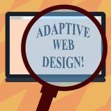 Muestra del texto que muestra diseño web adaptante Las versiones múltiples de la foto conceptual de una página web para caber al  ilustración del vector