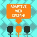 Muestra del texto que muestra diseño web adaptante Las versiones múltiples de la foto conceptual de una página web para caber al  libre illustration