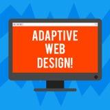 Muestra del texto que muestra diseño web adaptante Las versiones múltiples de la foto conceptual de una página web para caber al  stock de ilustración