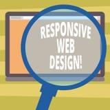Muestra del texto que muestra diseño web responsivo Creación conceptual de la página web de la foto que hace uso de la lupa flexi libre illustration