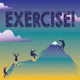 Muestra del texto que muestra ejercicio Actividad conceptual de la foto que requiere esfuerzo físico que trae en negocio del entr stock de ilustración