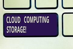 Muestra del texto que muestra el almacenamiento de Cloud Computing Los datos digitales de la foto conceptual se almacenan en pisc imágenes de archivo libres de regalías