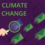 Muestra del texto que muestra el cambio de clima Aumento conceptual de la foto en la transformaci?n media global del tiempo de la ilustración del vector