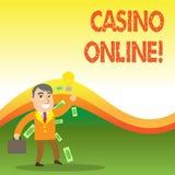 Muestra del texto que muestra el casino en l?nea Los jugadores conceptuales de la foto pueden jugar y apuesta en juegos del casin stock de ilustración
