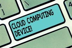 Muestra del texto que muestra el dispositivo de Cloud Computing La foto conceptual compartió piscinas del recurso configurable de fotos de archivo