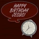 Muestra del texto que muestra el feliz cumpleaños Jesús Foto conceptual que celebra el nacimiento del color santo del espacio en  stock de ilustración