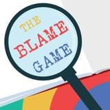 Muestra del texto que muestra el juego de la culpa Situación conceptual de la foto A cuando la gente intenta culpar uno otro stock de ilustración