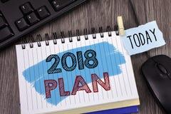 Muestra del texto que muestra el plan 2018 Metas desafiadoras de las ideas de la foto conceptual para que motivación del Año Nuev Fotografía de archivo
