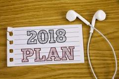 Muestra del texto que muestra el plan 2018 Metas desafiadoras de las ideas de la foto conceptual para que motivación del Año Nuev Foto de archivo libre de regalías