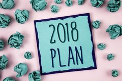 Muestra del texto que muestra el plan 2018 Metas desafiadoras de las ideas de la foto conceptual para que motivación del Año Nuev Fotografía de archivo libre de regalías