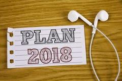 Muestra del texto que muestra el plan 2018 Metas desafiadoras de las ideas de la foto conceptual para que motivación del Año Nuev Imagenes de archivo