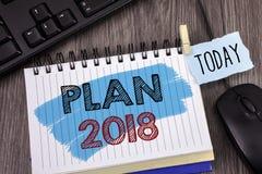 Muestra del texto que muestra el plan 2018 Metas desafiadoras de las ideas de la foto conceptual para que motivación del Año Nuev Fotos de archivo