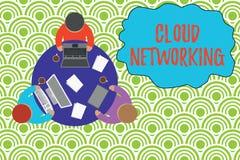 Muestra del texto que muestra establecimiento de una red de la nube La foto conceptual es término que describe el acceso de los r stock de ilustración