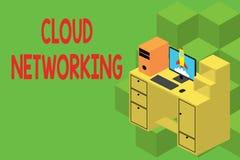 Muestra del texto que muestra establecimiento de una red de la nube La foto conceptual es término que describe el acceso de los r libre illustration