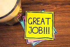 Muestra del texto que muestra a gran Job Motivational Call Cumplido bien hecho excelente de los resultados del trabajo de las fot Foto de archivo libre de regalías