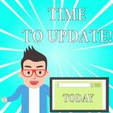 Muestra del texto que muestra hora de ponerse al d?a La foto conceptual esto es momento correcto para hacer algo un nuevo m?s mod stock de ilustración