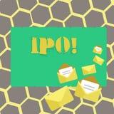 Muestra del texto que muestra Ipo La acción conceptual de la primera vez de la oferta pública inicial de la foto de la compañía s ilustración del vector