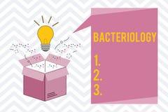 Muestra del texto que muestra la bacteriología Rama conceptual de la foto de la microbiología que se ocupa de las bacterias y de  stock de ilustración