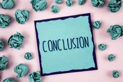 Muestra del texto que muestra la conclusión La foto conceptual resulta final de la decisión final del análisis de un evento o de  fotografía de archivo libre de regalías