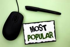 Muestra del texto que muestra la más popular Producto o artista preferido 1r de la foto del top del bestseller conceptual del gra Foto de archivo