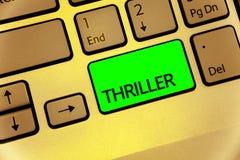Muestra del texto que muestra la novela de suspense Foto conceptual que enfría momentos espantosos en creati del ordenador portát imagen de archivo libre de regalías