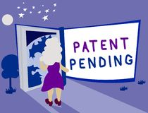Muestra del texto que muestra la patente pendiente Petición conceptual de la foto archivada ya pero no todavía concedida la prose stock de ilustración
