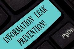 Muestra del texto que muestra la prevención del escape de la información Foto conceptual que inhibe la información crítica a la l imágenes de archivo libres de regalías