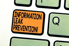 Muestra del texto que muestra la prevención del escape de la información Foto conceptual que inhibe la información crítica a la l foto de archivo libre de regalías
