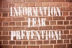 Muestra del texto que muestra la prevención del escape de la información Foto conceptual que inhibe la información crítica a la s fotos de archivo libres de regalías