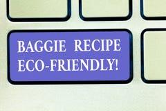 Muestra del texto que muestra la receta Eco de Baggie amistoso Bolso de compras conceptual de la foto que puede ser teclado analy stock de ilustración