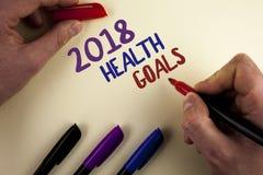 Muestra del texto que muestra la salud 2018 Golas Metas sanas de la resolución de la comida de la foto del Año Nuevo del entrenam Fotografía de archivo libre de regalías