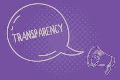 Muestra del texto que muestra la transparencia Condición conceptual de la foto que es translúcido evidente obvio claro transparen ilustración del vector