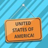 Muestra del texto que muestra los Estados Unidos de América País conceptual de la foto en la ejecución en blanco del Washington D ilustración del vector